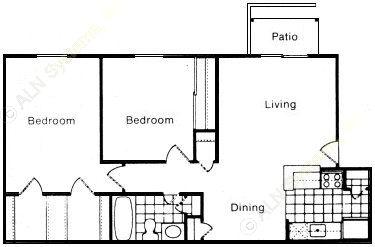 796 sq. ft. floor plan