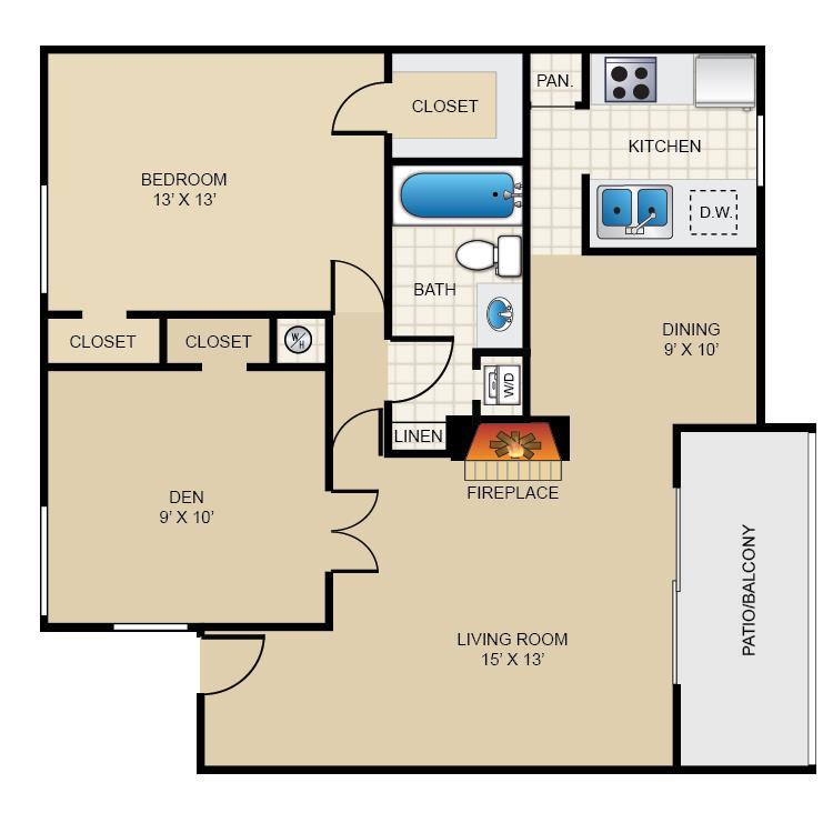 851 sq. ft. A3 floor plan