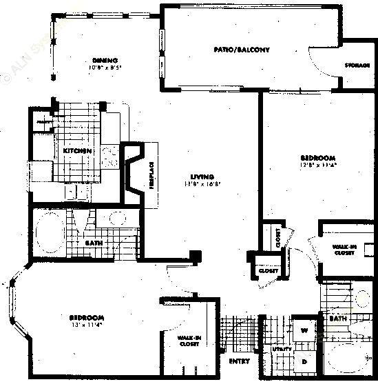 1,104 sq. ft. to 1,274 sq. ft. B2 floor plan