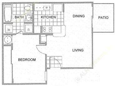 479 sq. ft. 1A floor plan