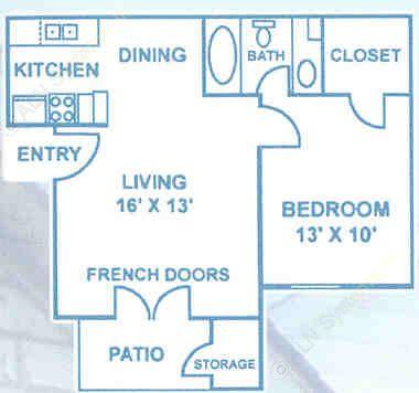 537 sq. ft. A1 floor plan