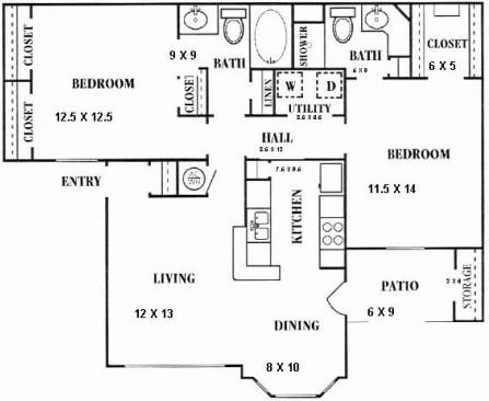 1,025 sq. ft. C floor plan