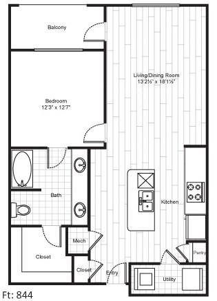844 sq. ft. A7 floor plan