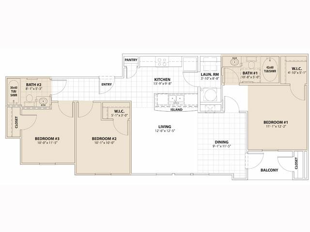 1,083 sq. ft. 50% floor plan