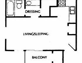 429 sq. ft. A floor plan