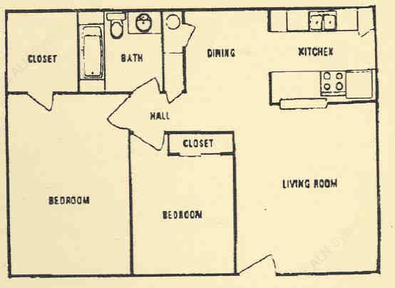 875 sq. ft. B floor plan