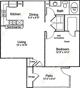 725 sq. ft. A1 floor plan