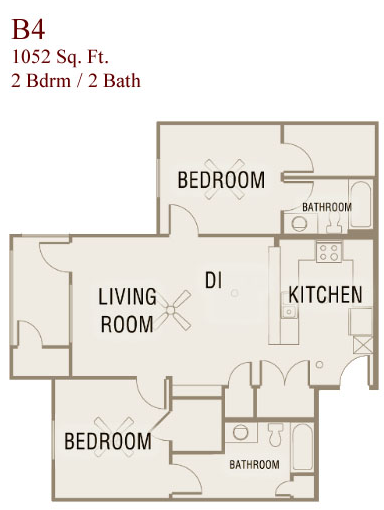1,052 sq. ft. B4-50 floor plan