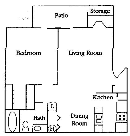719 sq. ft. A1 floor plan