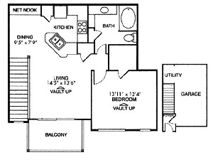 677 sq. ft. A1 floor plan