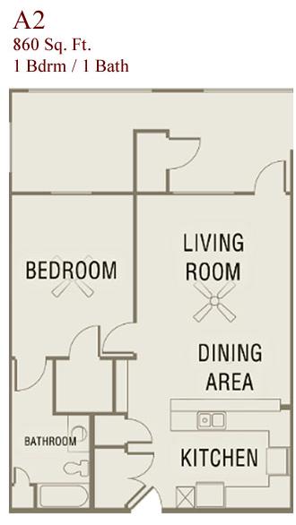 860 sq. ft. A2-50 floor plan