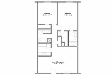 885 sq. ft. floor plan