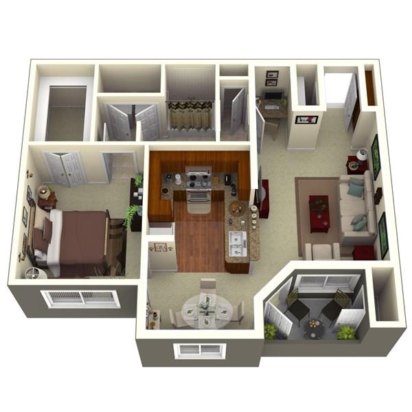 825 sq. ft. Cherry 1 floor plan