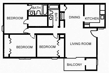 1,267 sq. ft. D floor plan