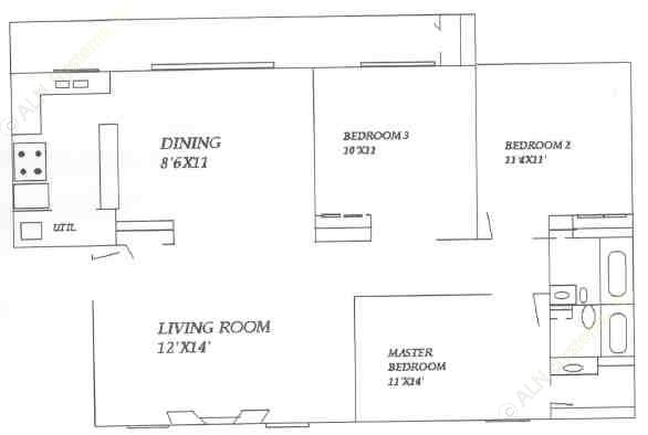 1,122 sq. ft. floor plan