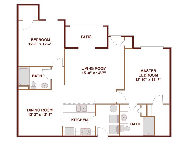 1,207 sq. ft. 22E floor plan