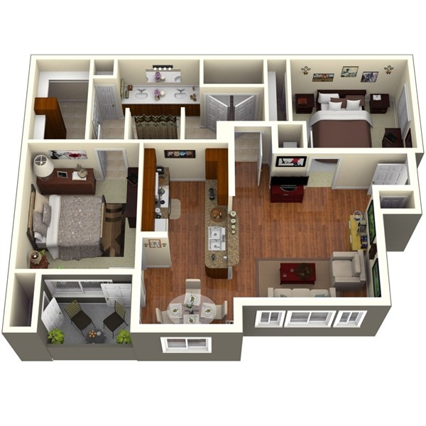 992 sq. ft. Magnolia 1 floor plan
