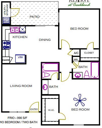990 sq. ft. FRIO floor plan