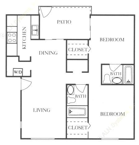 921 sq. ft. B2 floor plan