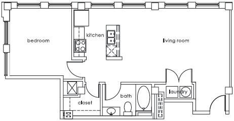 800 sq. ft. GS Plan H floor plan