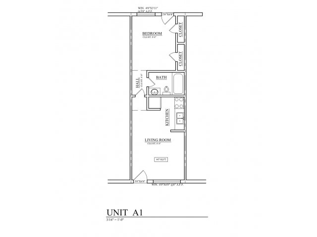 388 sq. ft. A1 floor plan