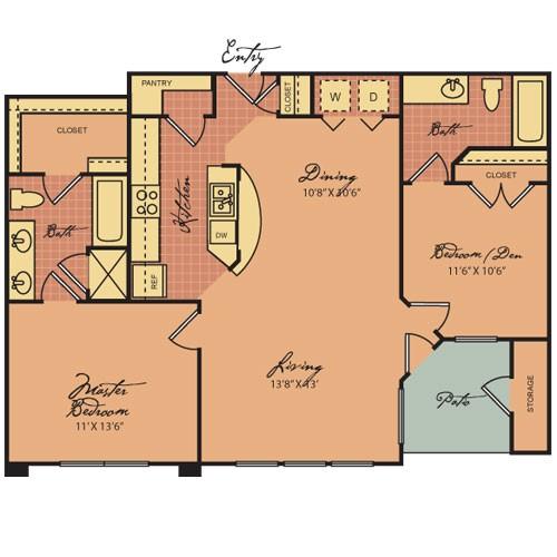 967 sq. ft. B1 60 floor plan