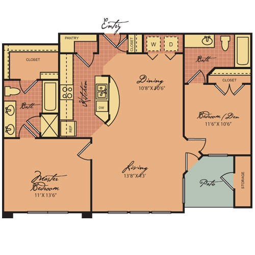 967 sq. ft. B1 60 floor plan