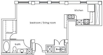 668 sq. ft. GS Plan J floor plan