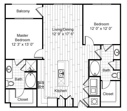 1,335 sq. ft. B4 floor plan
