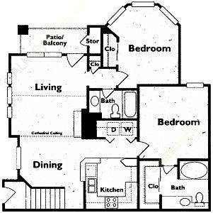 1,017 sq. ft. floor plan