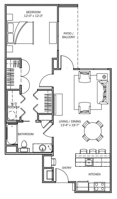 816 sq. ft. Bluebonnet 30% floor plan