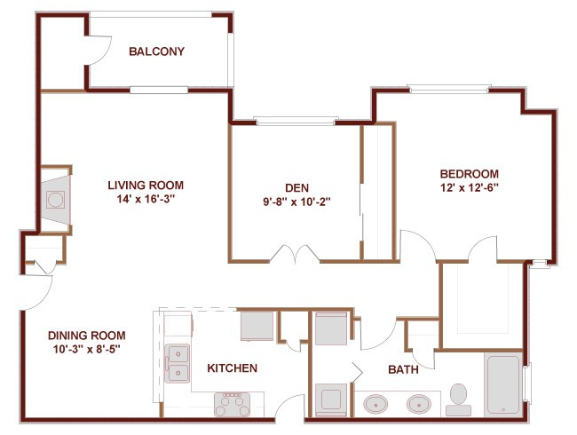 956 sq. ft. to 1,285 sq. ft. 21A floor plan