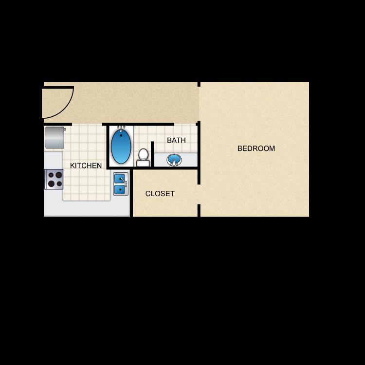 388 sq. ft. E1 floor plan