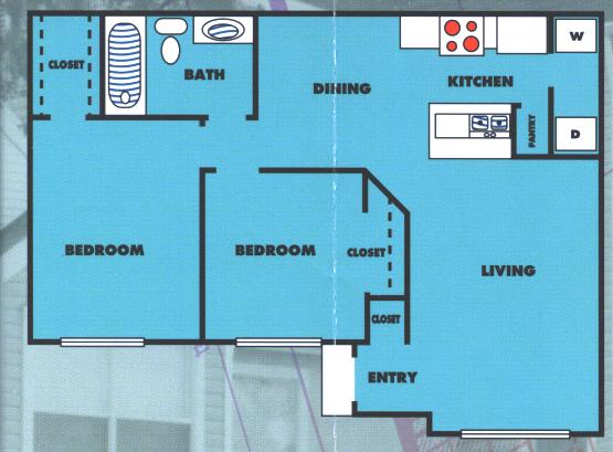 838 sq. ft. 2A/60% floor plan