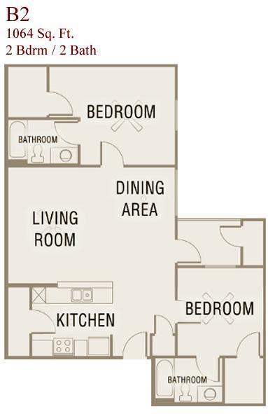 1,064 sq. ft. B2-50 floor plan