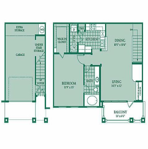 896 sq. ft. CITRINE floor plan
