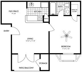 577 sq. ft. floor plan
