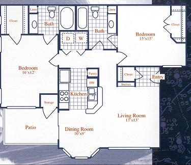 965 sq. ft. CATAMARAN floor plan