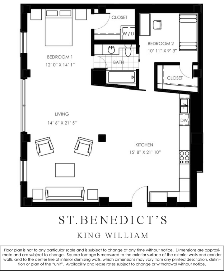 1,234 sq. ft. C floor plan