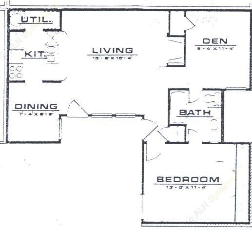 845 sq. ft. A3 floor plan