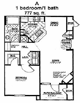 777 sq. ft. Pebble Beach floor plan