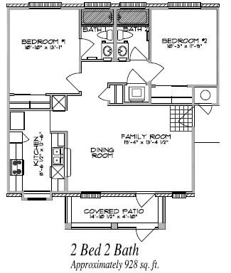 928 sq. ft. floor plan