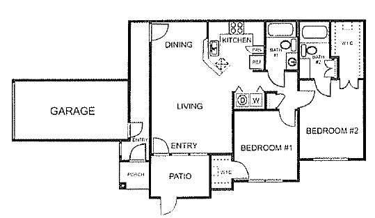 957 sq. ft. to 1,053 sq. ft. B/60% floor plan