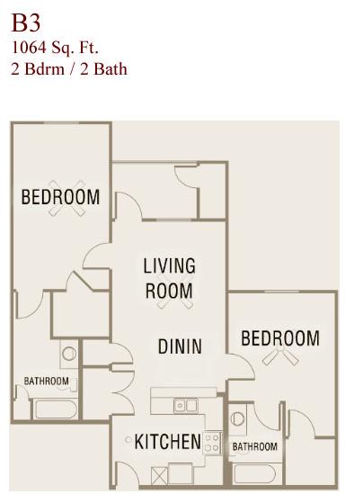 1,064 sq. ft. B3-50 floor plan
