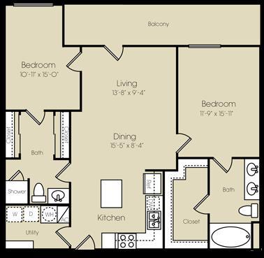 1,172 sq. ft. to 1,295 sq. ft. Coney Island floor plan