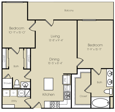 1,172 sq. ft. to 1,295 sq. ft. Coney Island floor plan