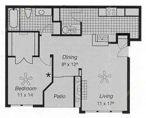 754 sq. ft. II D floor plan