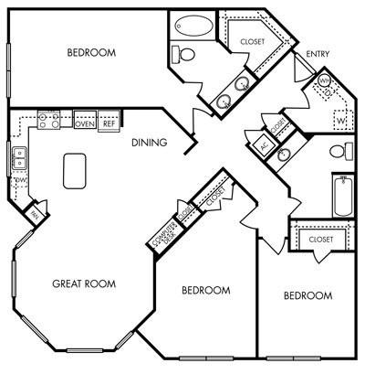 1,493 sq. ft. Opulent floor plan