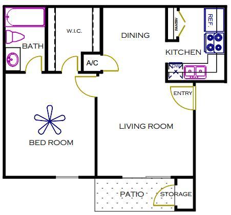 570 sq. ft. COLORADO floor plan