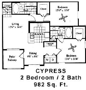 982 sq. ft. CYPRESS floor plan